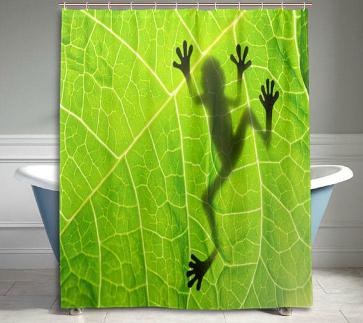 Funny Frog on Green Leaf Shower Curtain