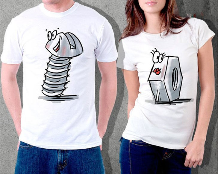 Funny Nut & Bolt Couple Shirts