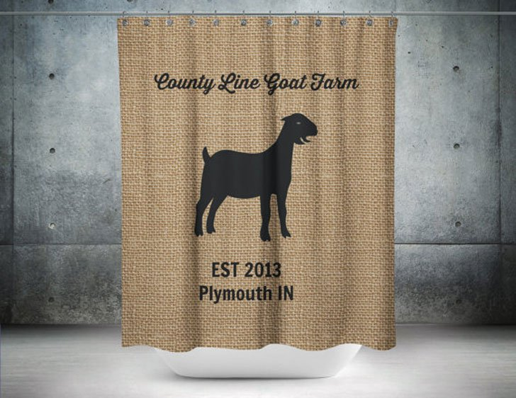 Funny Personalized Goat Farm Shower Curtain
