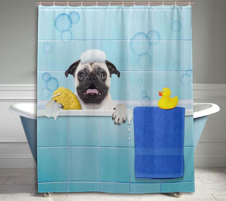 Funny Pug Dog Shower Curtain