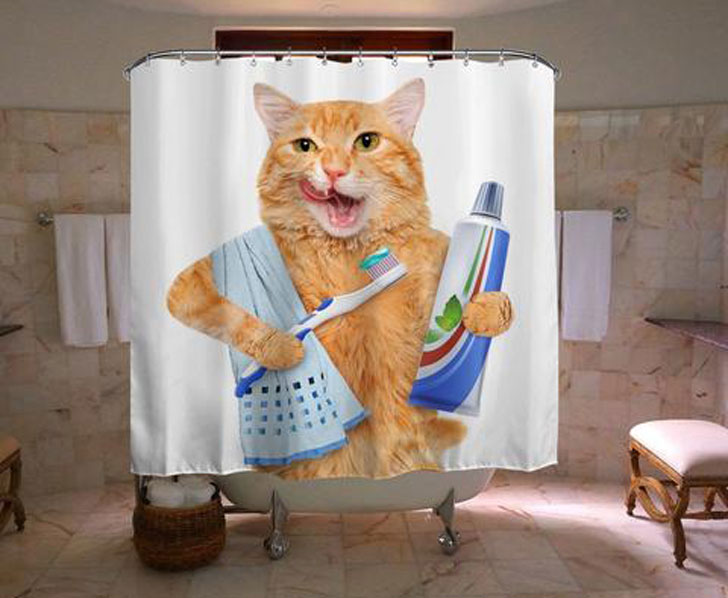 Ginger Cat Shower Curtain - Funny shower