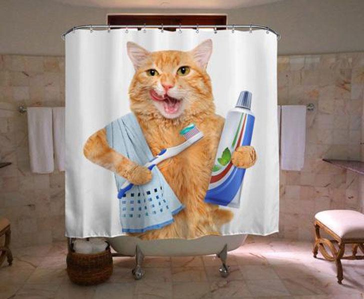 Ginger Cat Shower Curtain - Funny shower