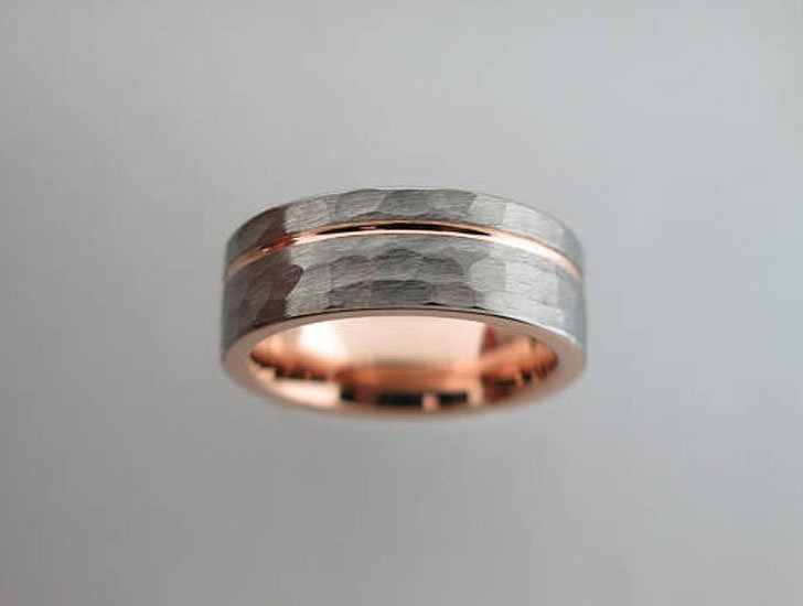 Hammered Brushed Tungsten Carbide Unisex Band - Tungsten Carbide Rings