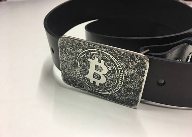 Handmade Etched and Welded Stainless Steel Bitcoin Belt Buckle