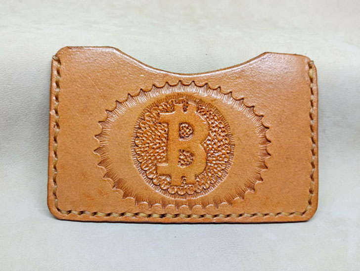 Handmade Leather Bitcoin Card Holder