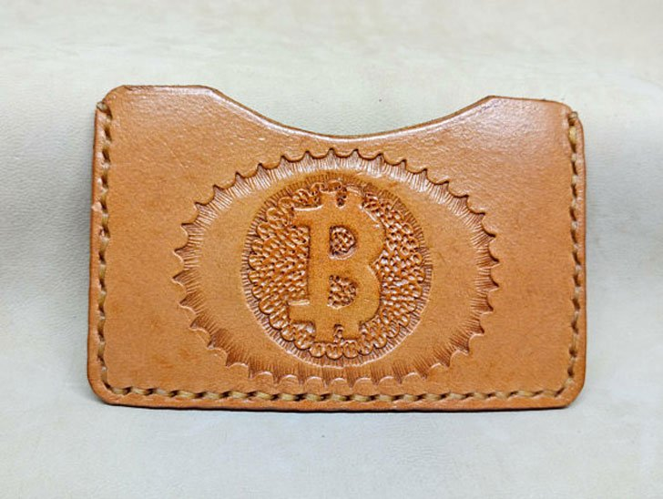 Handmade Leather Bitcoin Card Holder