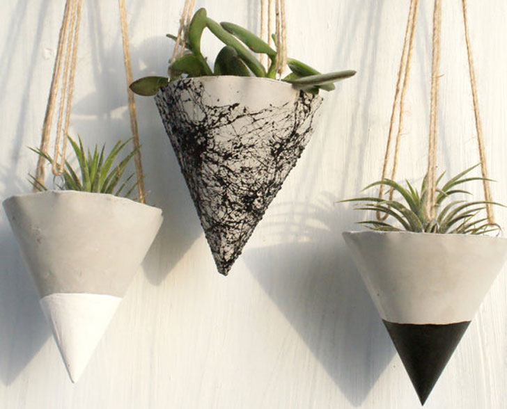 Hanging Cone Concrete Planters