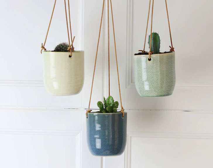 Hanging Planter with Leather Strap