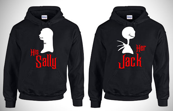 Her Jack / His Sally Halloween Couples Matching Hoodies