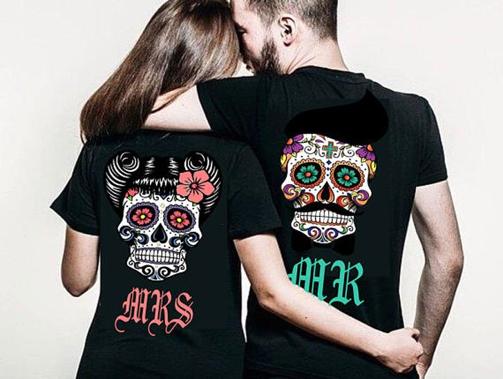 His and Hers Sugar Skull Couples Shirts