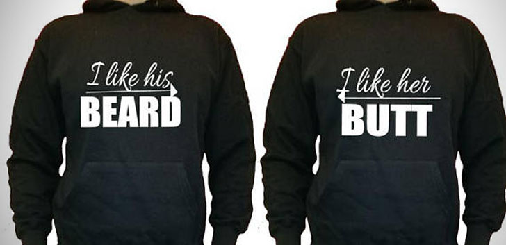 Humorous Beard And Butt Couples Hoodies