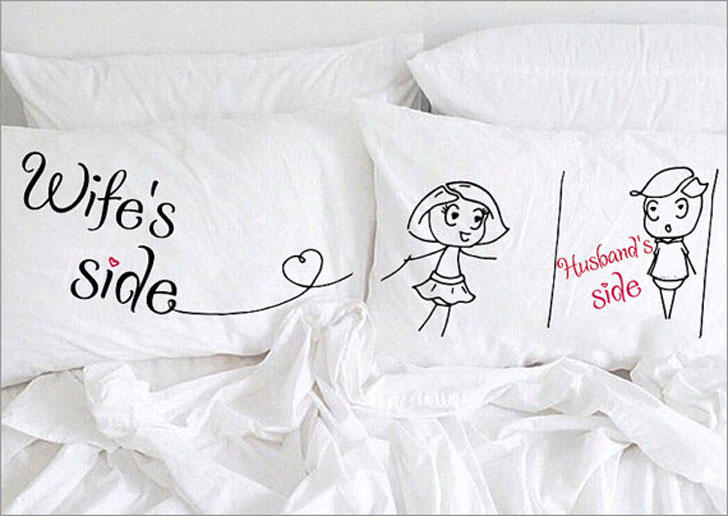 Humorous Husband and Wife Pillow Case Set