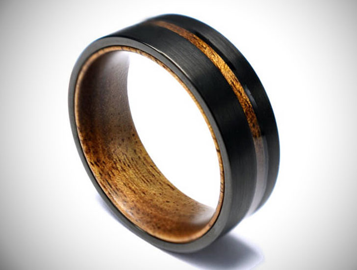 Koa Wood Brushed Black Titanium Men's Wedding Band