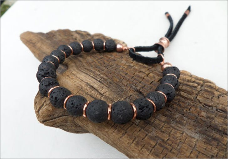 Lava Stone and Copper Boho Bracelet