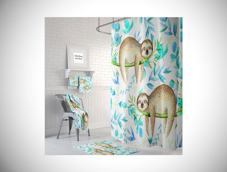 Lazy Sloth Shower Curtain
