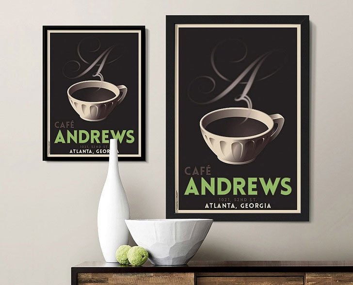 Le Cafe Personalized Art - gifts for coffee lovers