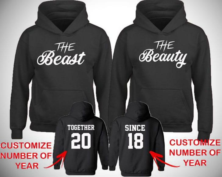 Matching Beauty & Beast Couples Hoodies