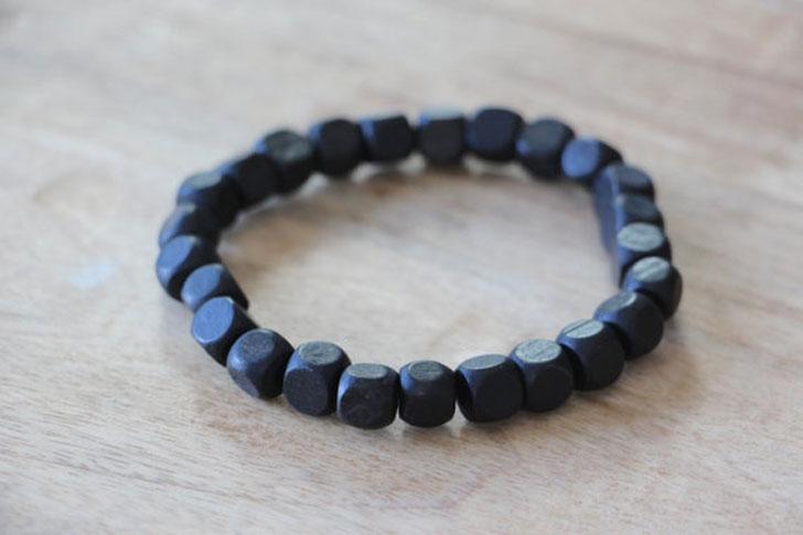 Men's Beaded Black Square Wood Beads Bracelet