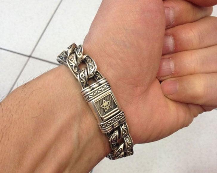 Mens Chunky Silver Gothic Style Knight Bracelet