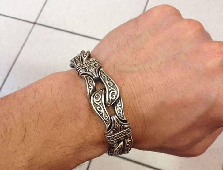 Mens Chunky Silver Gothic Style Knight Bracelet