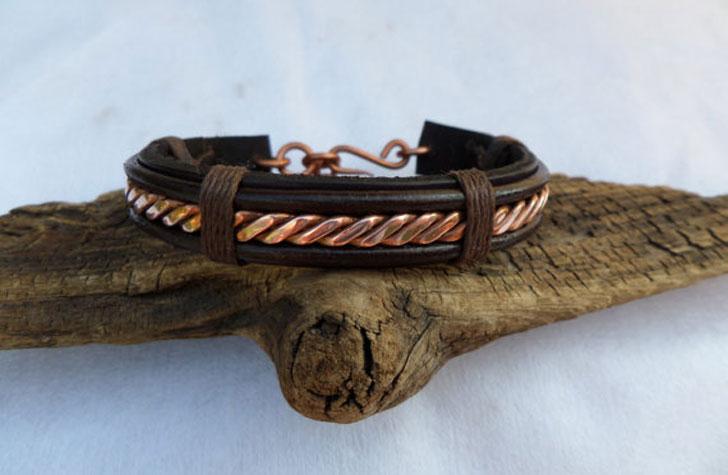 Mens Leather & Copper Twist Bracelet