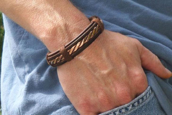 Mens Leather & Copper Twist Bracelet - cool bracelets for guys