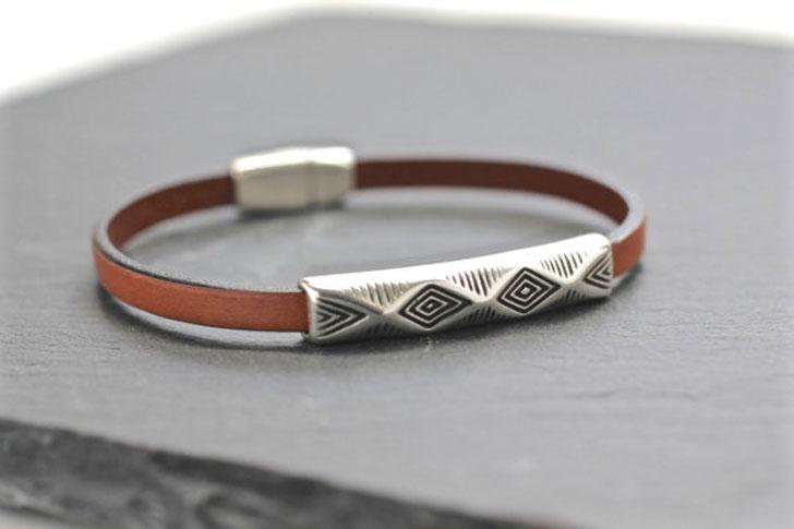 Mens Leather Geometrie Bracelet