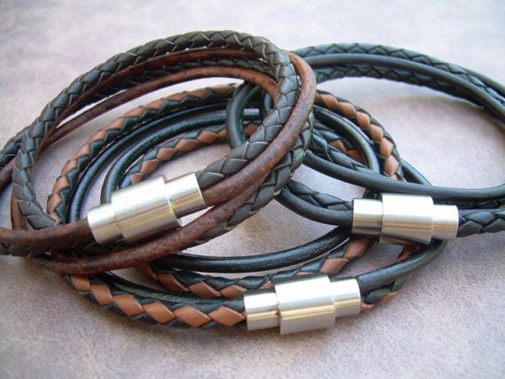 Mens Leather with Stainless Steel Magnetic Clasp Bracelet