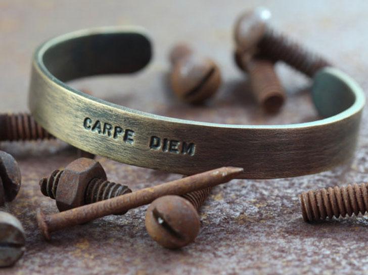 Men's Personalized Oxidized Brass Bracelet - cool bracelets for guys