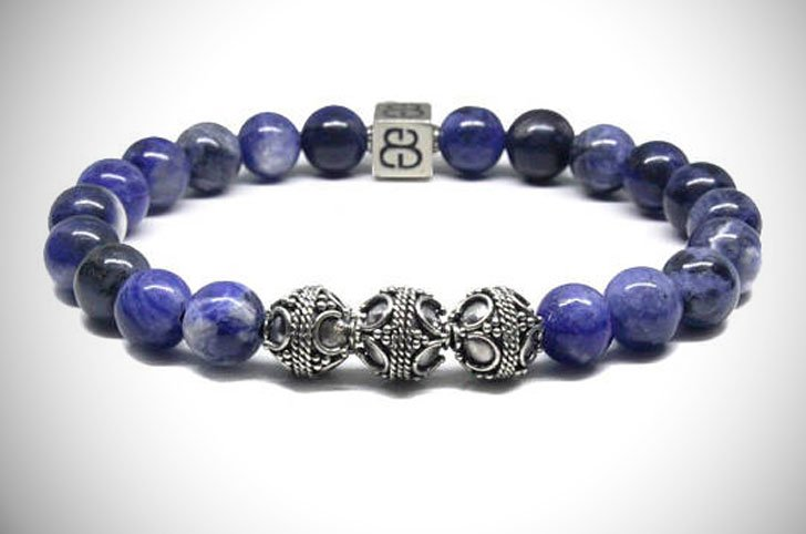 Men's Sodalite and Sterling Silver Bracelet