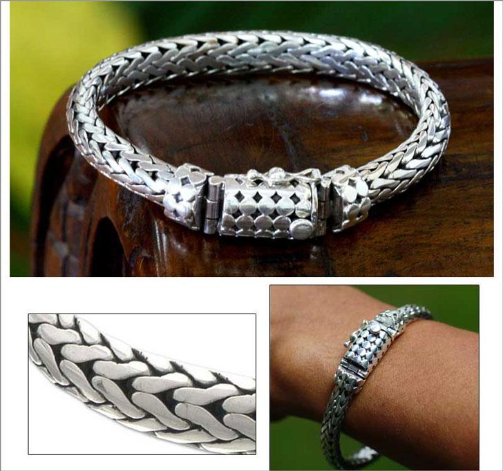 Men's Sterling Silver Handmade Dragon Chain Bracelet