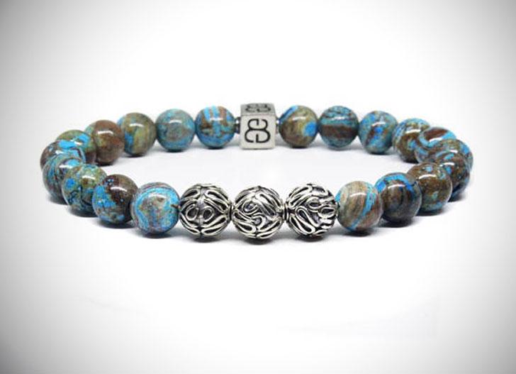 Men's Sterling Silver and Blue Jasper Beaded Bracelet