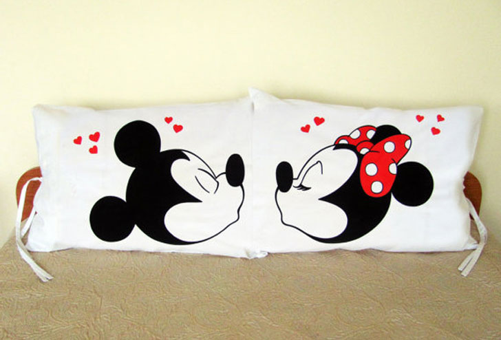 Mickey and Minnie Mouse Kiss Couple Pillow Cases - couples pillowcases