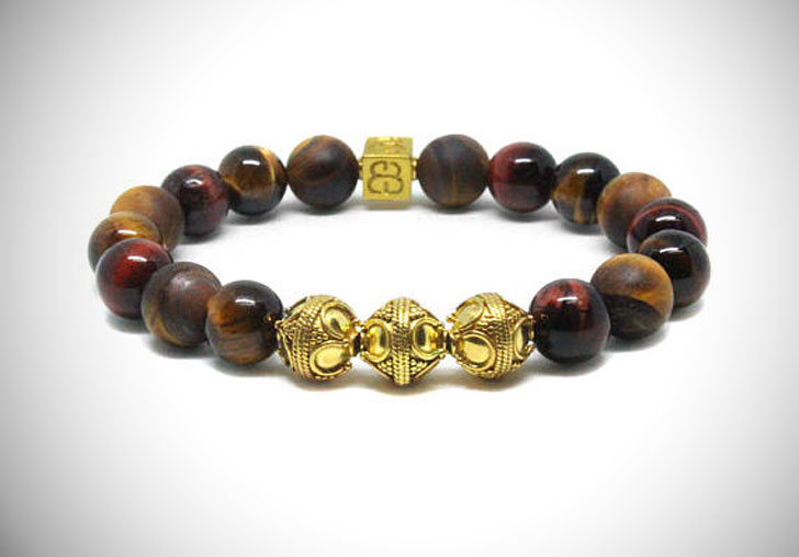 Mixed Tiger's Eye and Gold Beads Bracelet - cool bracelets for guys