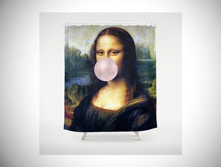 Mona Lisa Chewing Gum / Custom Made - Shower Curtains