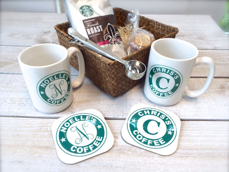 Monogrammed Coffee Basket