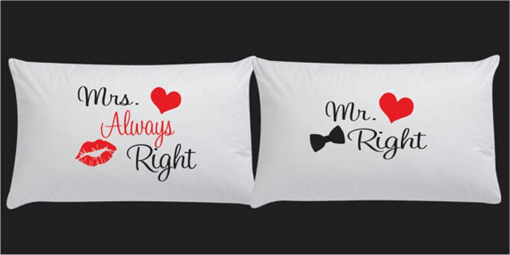 Mr Right & Mrs Always Right Pillow Case Set