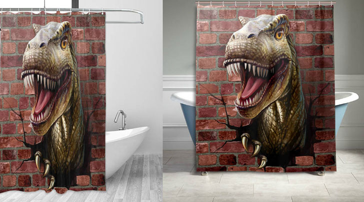 Out of Wall Dinosaur Shower Curtain