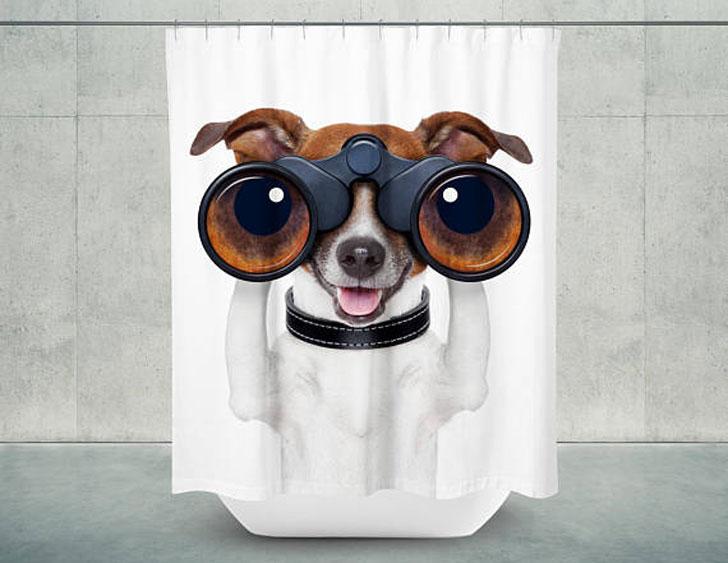 Peek A Boo Dog Shower Curtain