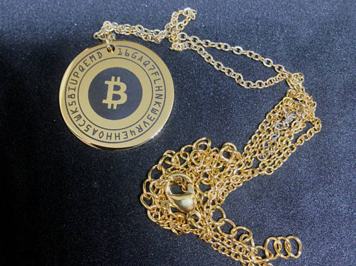 Personalised 18k Gold Plated Stainless Steel Bitcoin Pendant Necklace