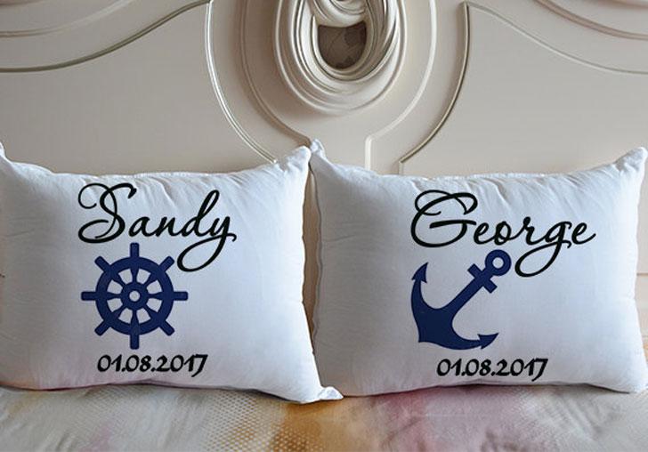 Personalised Nautical Theme Couple Pillows