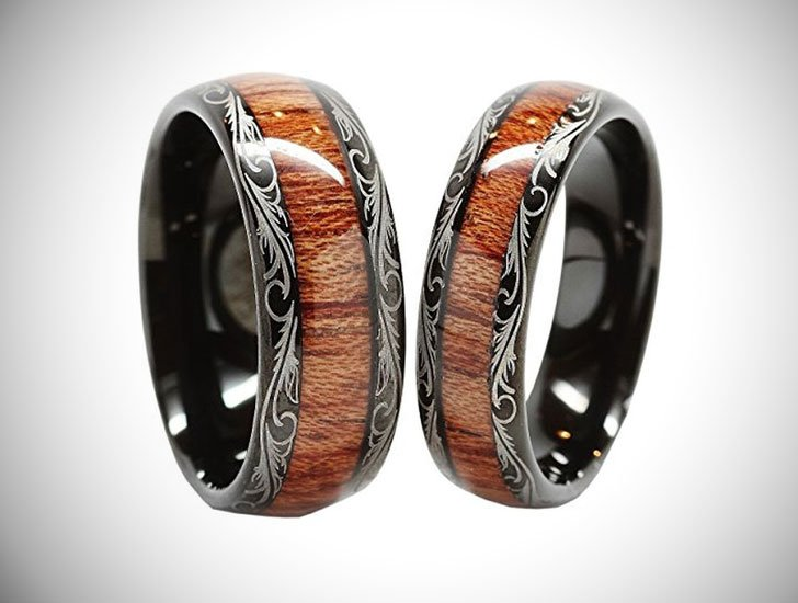Personalized Tungsten Carbide Wedding Band Wood Inlay Couple Rings
