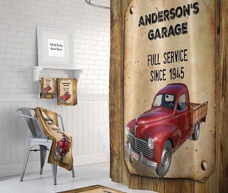 Personalized Vintage Red Truck Shower Curtain