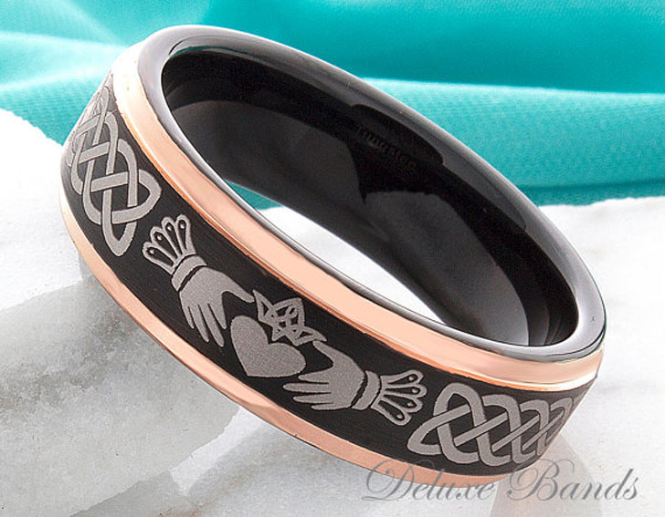 Personally Engraved Tungsten Carbide Claddagh Ring