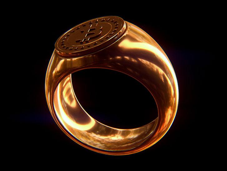 Polished Bronze Bitcoin Ring