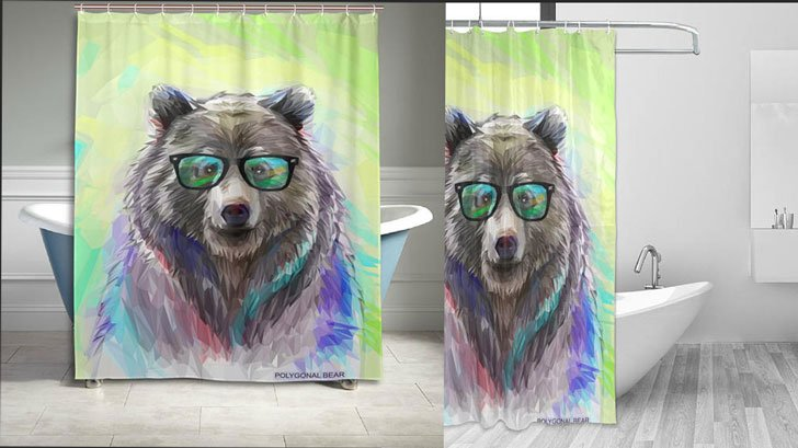 Polygon Fashion Bear Shower Curtain
