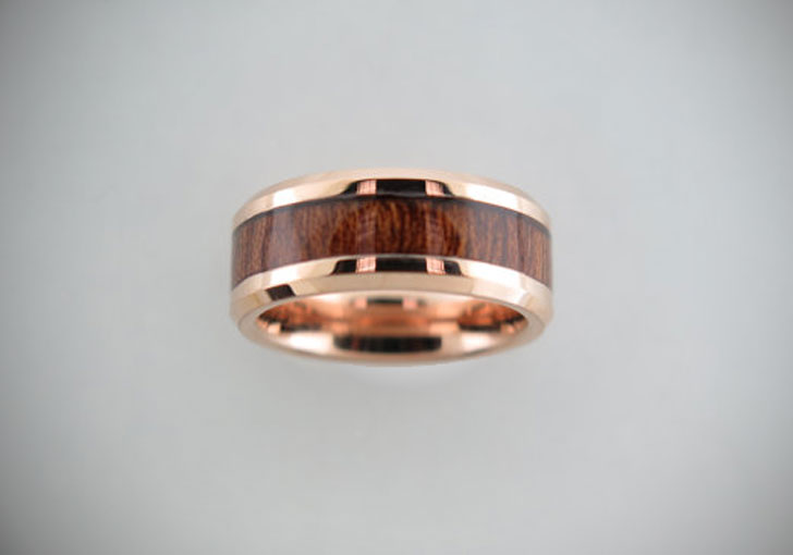 Rose Gold Tungsten Carbide Unisex Band with Koa Wood Inlay