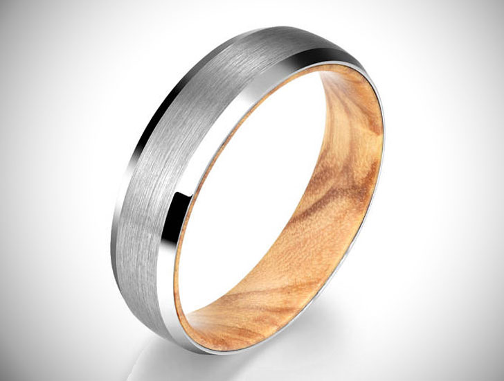 Silver Tungsten Exotic Olive Wood Ring