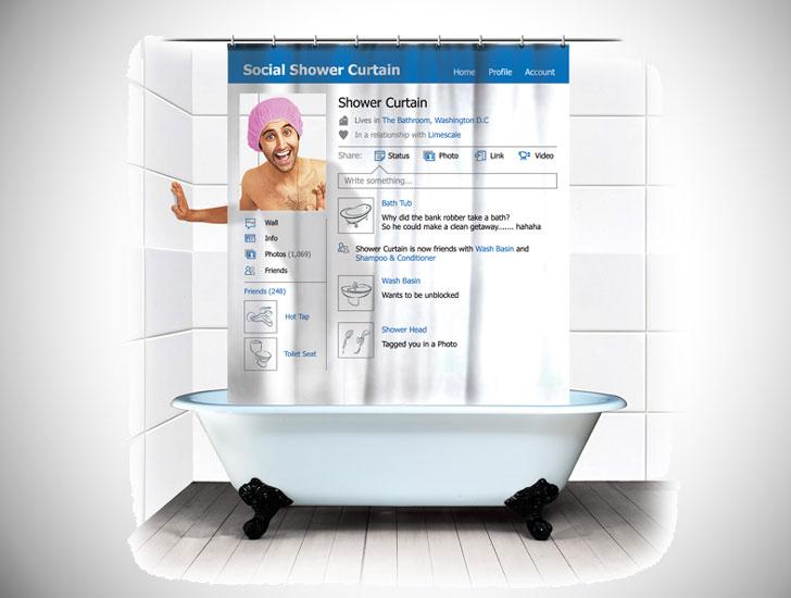 Social Media Shower Curtain