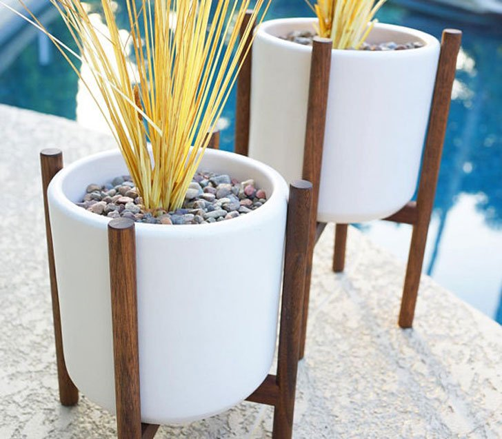 Staggered Pair of Modern Ceramic Planters